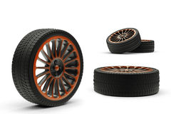 Car wheels with a titanium disk isolated Stock Photography