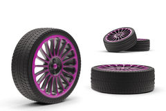 Car wheels with a titanium disk Royalty Free Stock Photo