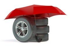 Car wheels under umbrella Royalty Free Stock Photo
