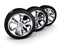 Car wheels on white background Royalty Free Stock Photography