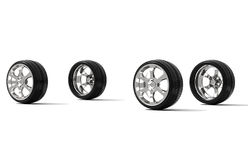 Car wheels on white background royalty free stock images
