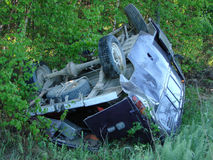 The car which moved down in a ditch as a result of accident Royalty Free Stock Photo