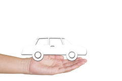 Car from white background on hands. Isolated on white. Stock Images