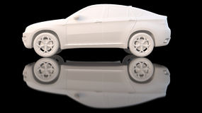 Car white clay. 3d rendering Royalty Free Stock Image