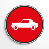 Car. White vector icon on a red background. Stock Photos