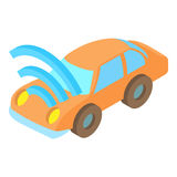 Car with Wi Fi icon, cartoon style. Car with Wi Fi icon in cartoon style isolated on white background. Technology symbol vector illustration Stock Images