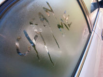 Car Window. Early Morning dew on a car window forming a beautiful pattern Royalty Free Stock Photography