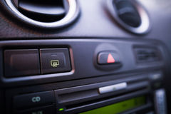 Car window defrost button detail Royalty Free Stock Images