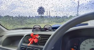 Free CAR Window Glass ON THE GO -TRAVELLING With Condensation Of Natu Stock Image - 126254031