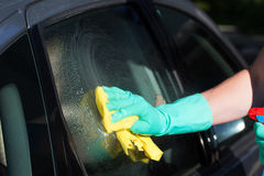 Car window washing Stock Photos