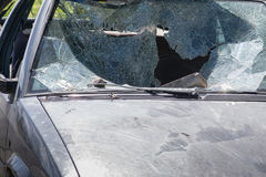 Car windscreen broken. Old and Wrecked car. Royalty Free Stock Photo