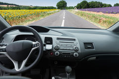 Car windscreen with road Royalty Free Stock Photo
