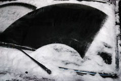 Car windshield with snow Stock Photo