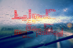Car windshield wipers with red color word cloud Royalty Free Stock Photography