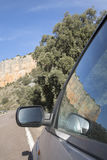 Car Wing Mirror on Road in Canyon Landscape; Nuevalos, Aragon Stock Photography