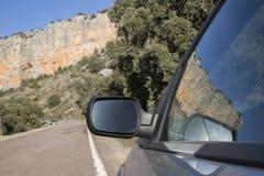 Car Wing Mirror on Road in Canyon Landscape; Nuevalos, Aragon Stock Photos