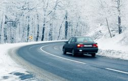 Car in winter. Car on road in winter Royalty Free Stock Photo