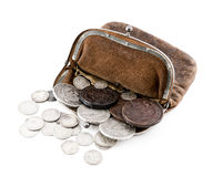 Car in the winter. Old leather purse with silver coins of tsars of House of Romanovs of 18-19 centuries Royalty Free Stock Photos