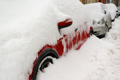 Car winter parking in snow Royalty Free Stock Photo