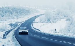 Car in winter. Car on road in winter Stock Images