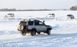 Car on winter road. royalty free stock photo