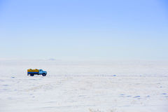 Car on winter road Royalty Free Stock Photography