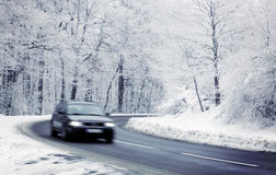 Car in winter. Car on road in winter Royalty Free Stock Photos