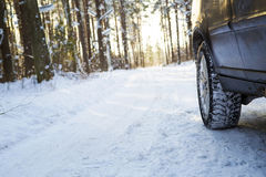 Car on the winter road in the wood. Stock Photos