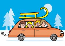 Car, winter vacation Stock Images