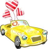 Car With Hearts Cartoon Stock Image