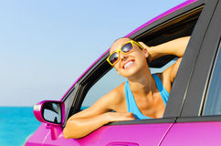 Car woman driver happy Stock Photos
