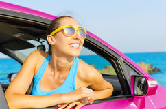 Car woman driver happy Royalty Free Stock Photo