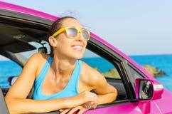 Car woman driver happy Royalty Free Stock Photo