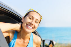 Car woman driver happy Stock Photo