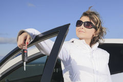 Car. Woman driver happy smiling Royalty Free Stock Photos