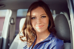 Car woman on road trip Stock Photography