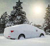 Car in the woods Snowbound Stock Photos