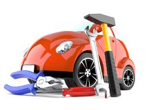 Car with work tools. On white background Royalty Free Stock Image