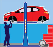 Car in a workshop. Illustration clip-art stock illustration