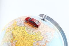 Car on the world map Royalty Free Stock Images