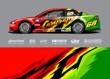 Free Car Wrap Livery Illustration For Racing Stripe, Vinyl Car Wrap And Decal Stickers. Stock Photography - 209816692