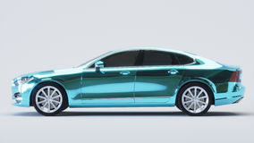 Car wrapped in blue chrome film. 3d rendering Royalty Free Stock Photography