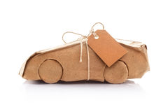 Car wrapped in brown paper Royalty Free Stock Photo