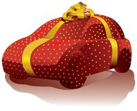 The car wrapped in a gift box with a bow. stock illustration