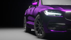 Car wrapped in violet matte chrome film. 3d rendering. Car wrapped in violet matte chrome film. 3d illustration stock photo