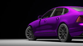 Car wrapped in violet matte chrome film. 3d rendering. Car wrapped in violet matte chrome film. 3d illustration stock image