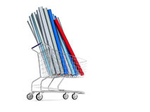 Car wrapping film roll in the shopping cart. Car wrapping film. High quality photo realistic render royalty free stock images
