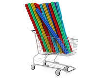 Car wrapping film roll in the shopping  cart Stock Photo