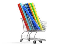 Car wrapping film roll in the shopping  cart Stock Images