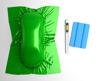 Car wrapping film and tools Royalty Free Stock Images
